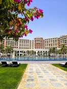 Walking back from the Grand Canal beach at The Ritz-Carlton Abu Dhabi