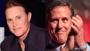 Former Olympian Bruce Jenner, left,and  former senator Rick Santorum