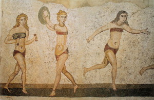 Female athletes depicted in 4th-century A.D. mosaics (Villa Romana del Casale, Piazza Armerina, Sicily)