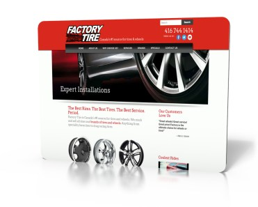 tire dealer retailer wordpress website front page red white black