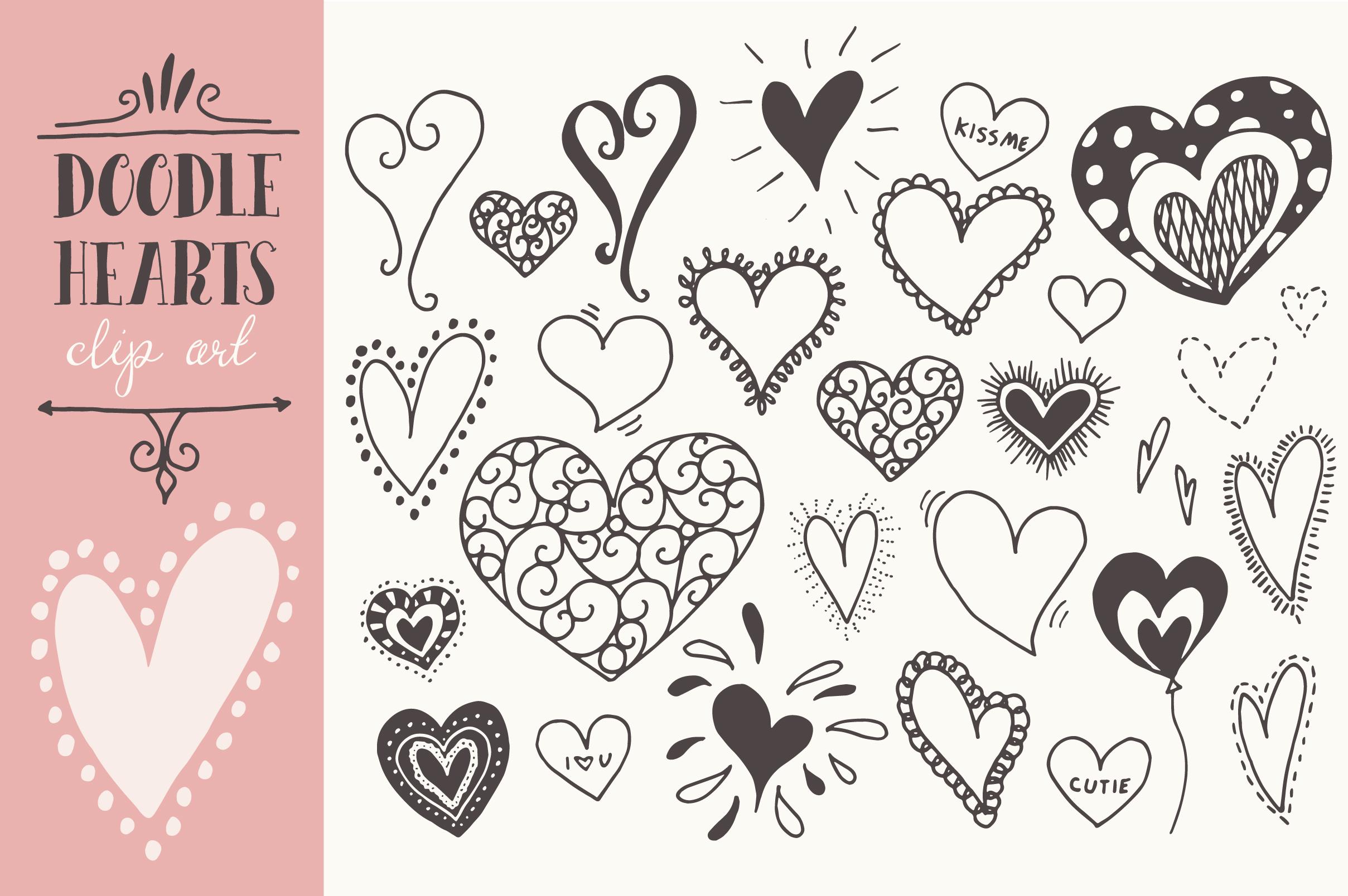 Doodle Hearts Clip Art Graphics On Creative Market
