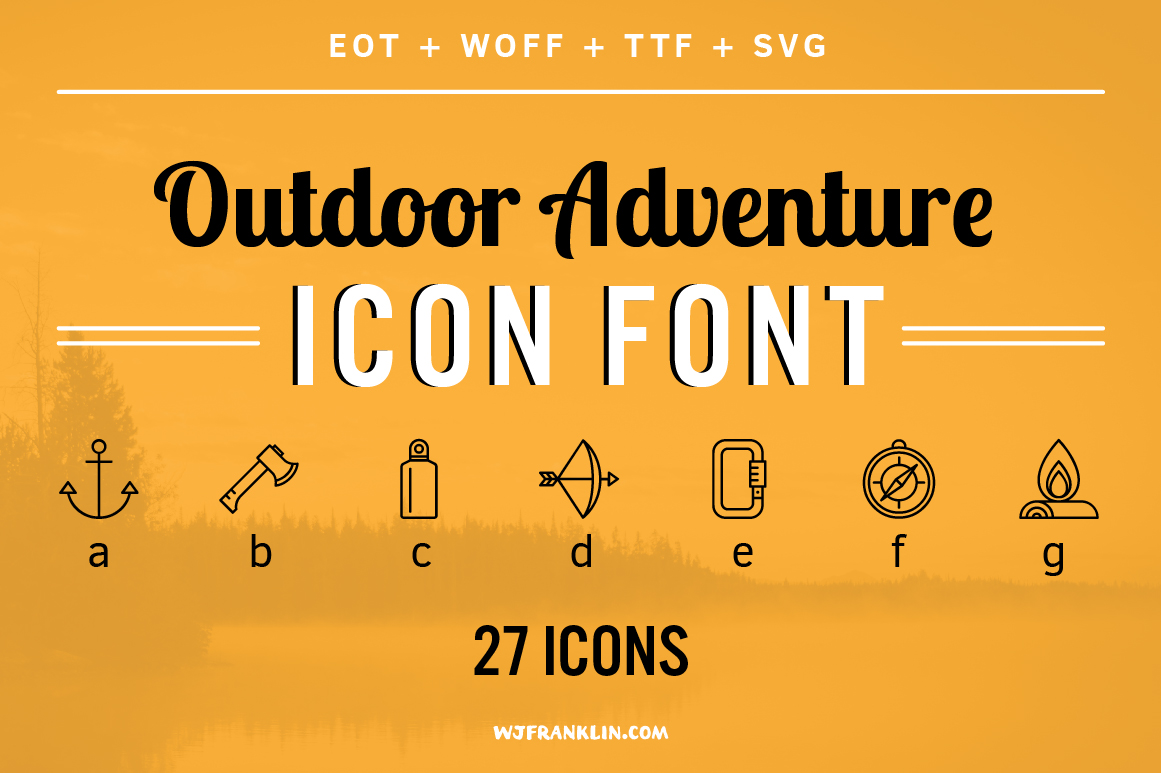 outdoor adventure icon font symbol fonts on creative market