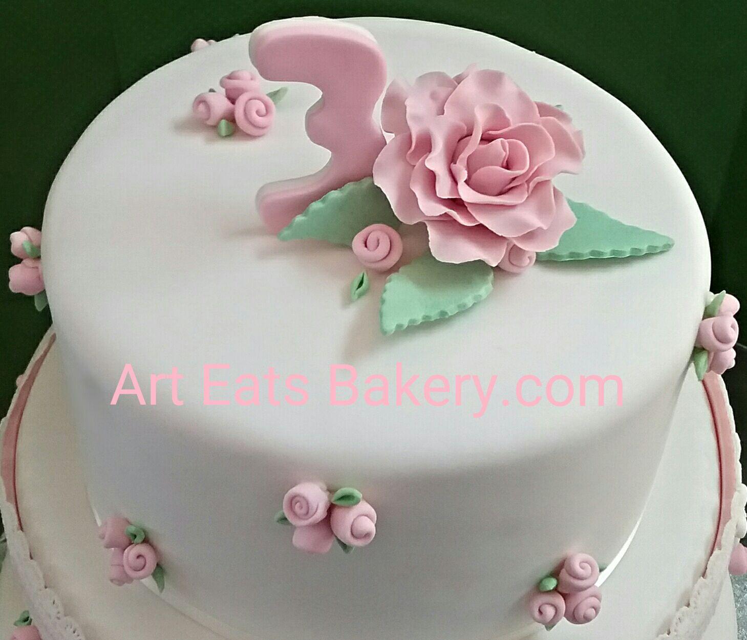 Three Tier Girls Custom Fondant 4th Birthday Cake With