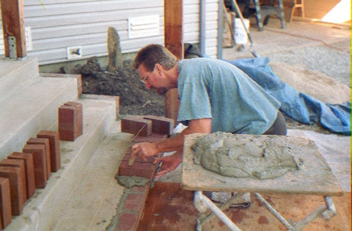Refacing Concrete Steps With Brick Fine Homebuilding   Wood Steps Over Concrete Steps   Cement   Concrete Patio   Brick   Stair Stringers   Curb Appeal