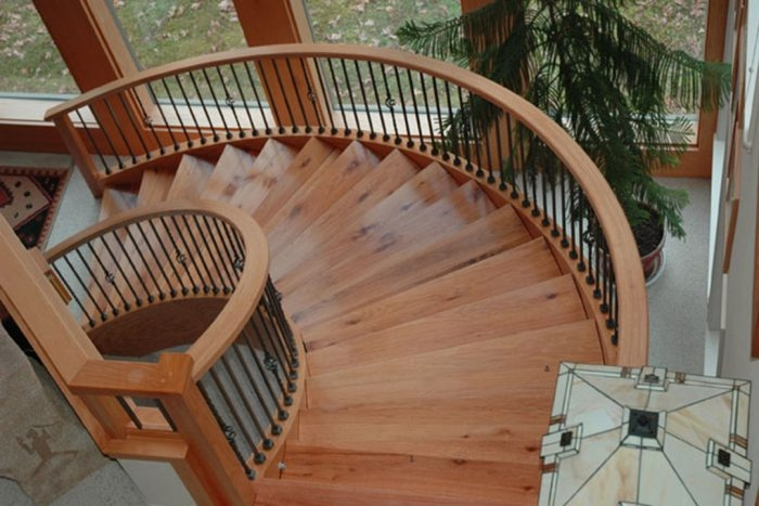 Laminating Curved Stair Stringers Fine Homebuilding   Building A Curved Staircase   Indoor   36 Inch Diameter   Garage   Circular   Outside