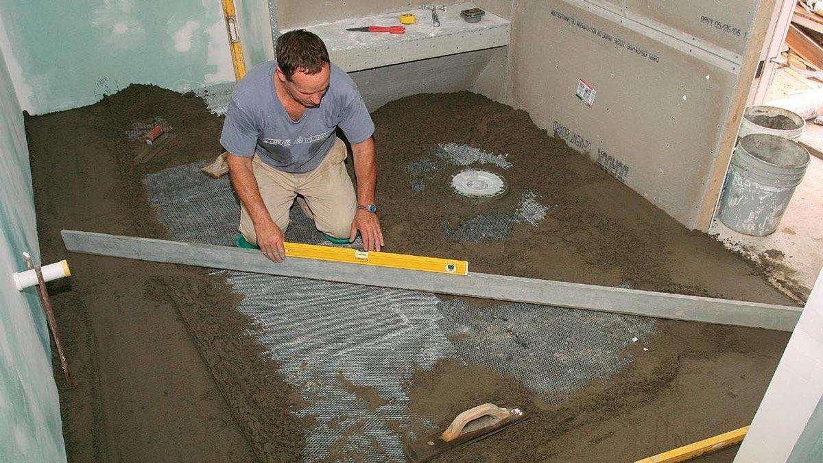 solid tile floor installation