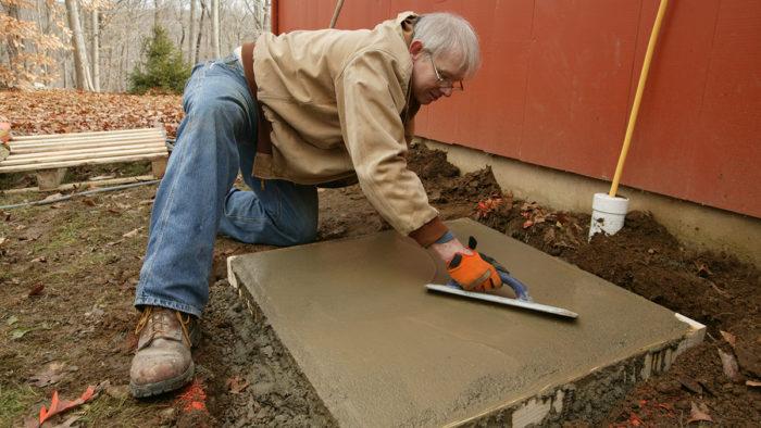 placing a small concrete slab fine