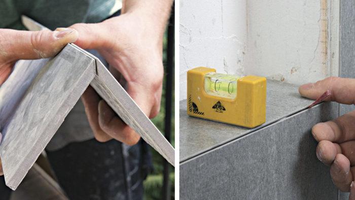 Mitered Joints Make A Tiled Shower Niche Shine Fine