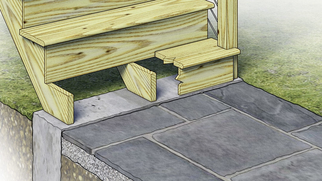 Best Practices For Building A Deck Stair Landing Fine Homebuilding | 3 Step Outdoor Stairs | Diy | Portable | Entrance | Wide | Curved Front Porch