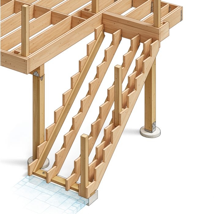 Widening Deck Stairs Fine Homebuilding | 2 Step Outdoor Stairs | Outdoor | Wooden | Free Standing | Cascading | Multi Colored