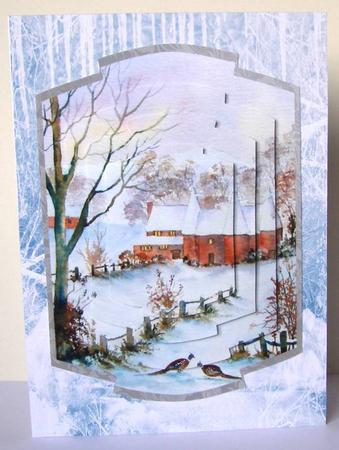 Winter Snow Scene Christmas Background Paper Vertical