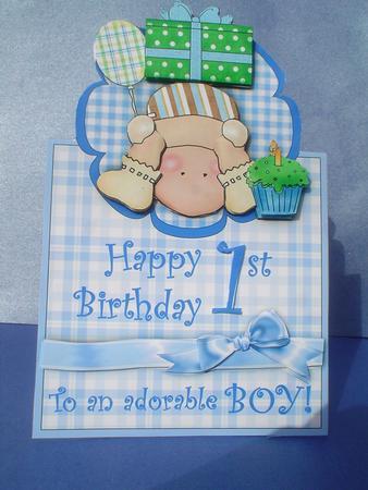 Happy 1st Birthday Adorable Boy Vertical Foldback Card CUP106198203 Craftsuprint