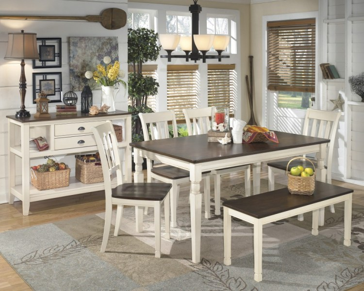 Whitesburg Table  4 Side Chairs   Bench   D583 00 02 4  25   Dining     Whitesburg Table  4 Side Chairs   Bench