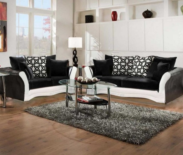 Black And White Sofa And Love Living Room Set