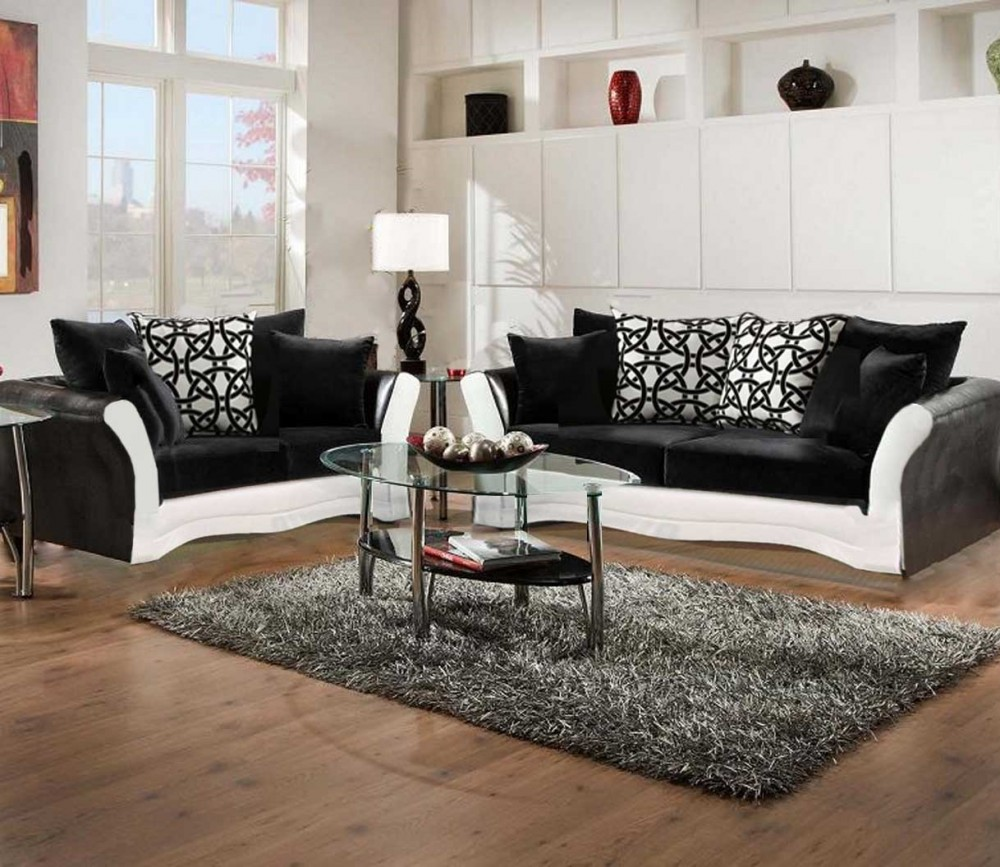 Black and White Sofa and Love Living Room Set   8000 Black and White     Black and White Sofa and Love Living Room Set