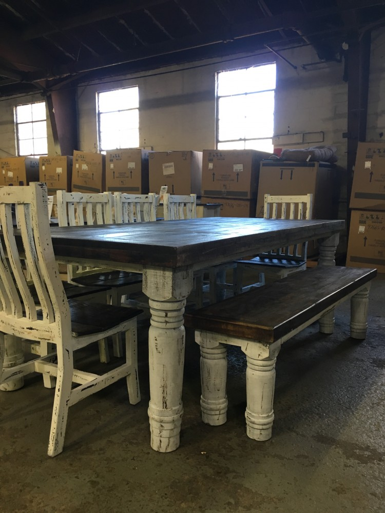 Rustic Canyon 8pc White Distressed Dinette MES 15 SIL 06 BAN 14 Dining Room Groups Railway