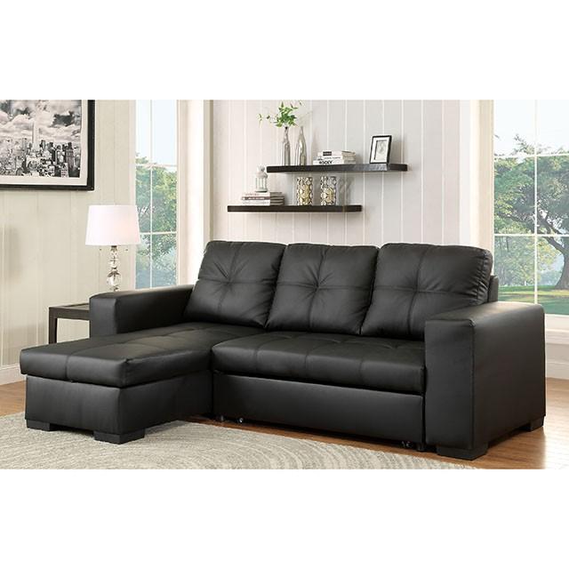 denton sectional black bonded leather match