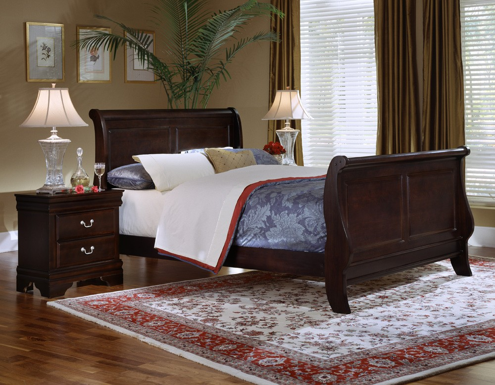 louis queen sleigh bed merlot finish