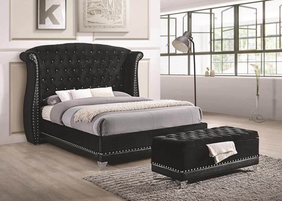 barzini bedroom collection barzini black upholstered california king bed