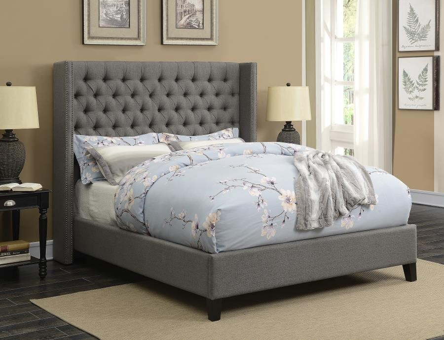 benicia upholstered bed benicia grey upholstered california king bed