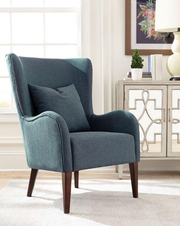 Dark Teal Winged Accent Chair 903370 Living Room Chairs Price Busters Furniture