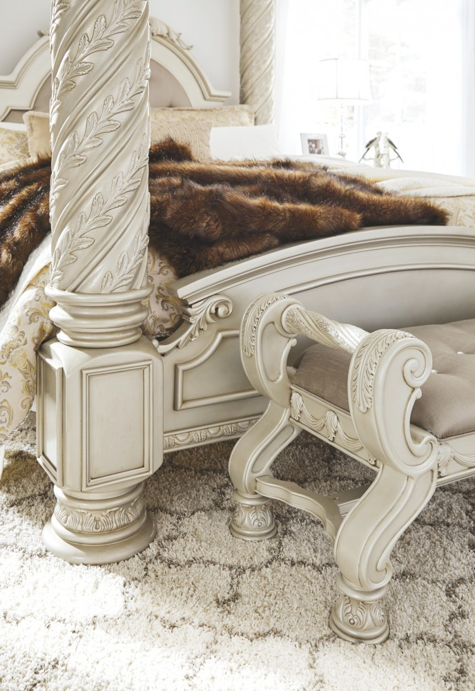 Cassimore Pearl Silver Large Uph Bedroom Bench B750