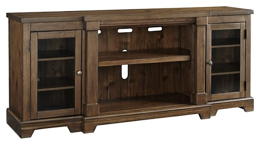 Flynnter Medium Brown XL TV Stand WFireplace Option