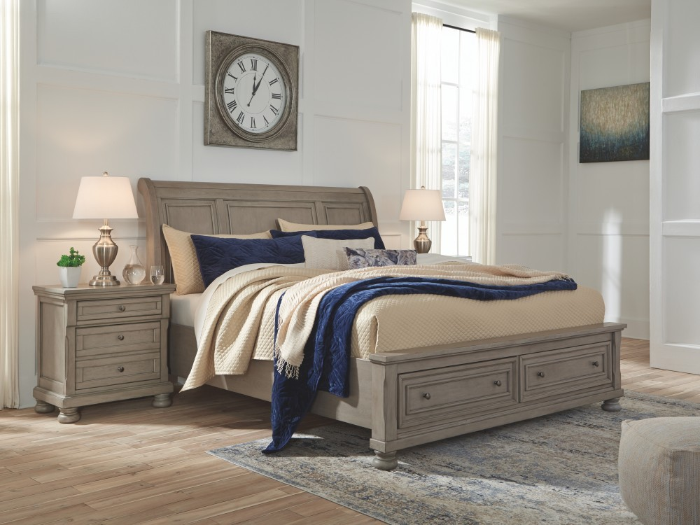 Lettner King Sleigh Bed With Storage Complete Beds
