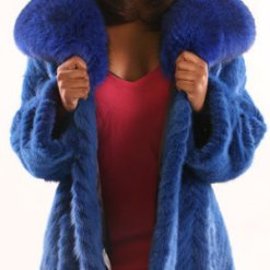 Blue Fox 3/4 Jacket with Dyed Blue Collar