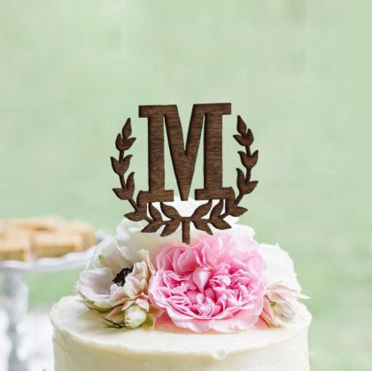 Wedding monogram cake topper