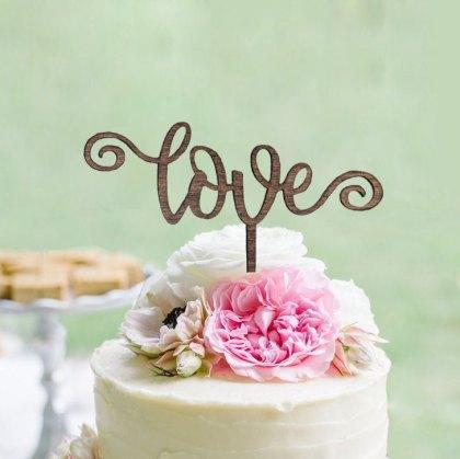 Curl Love Wedding Cake Topper
