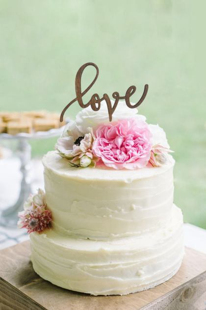 Rustic Wedding Cake Topper LOVE - Wooden Cake Topper