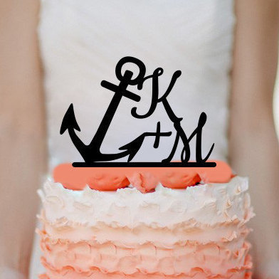 Personalized Anchor Initials Cake Topper