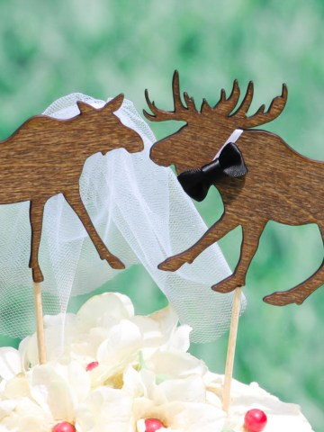 Stupendous Moose Couple Wedding Cake Topper Funny Birthday Cards Online Overcheapnameinfo