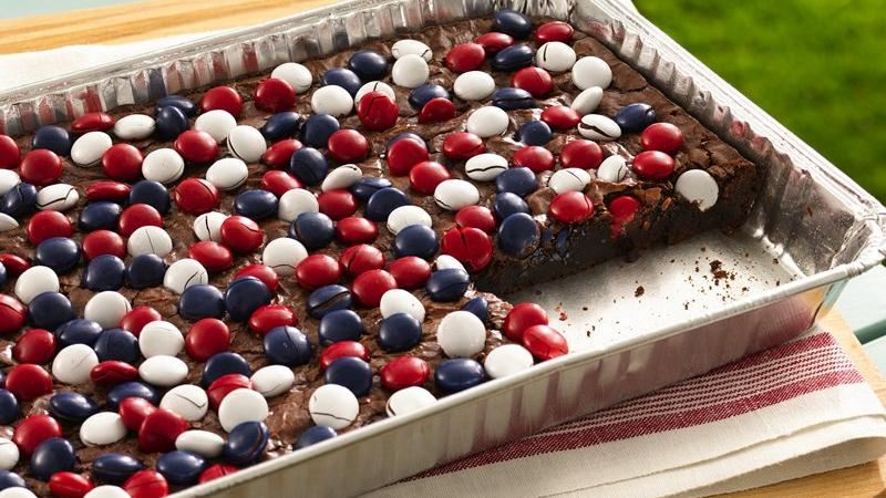 Red, White & Blue Candy-Topped Brownies from Betty Crocker [Independence Day Menu Ideas at High-Heeled Love]