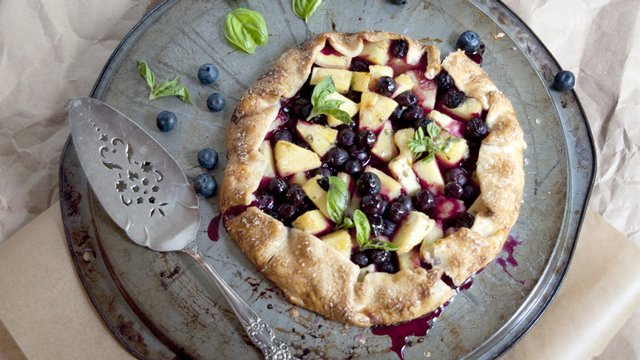 Grilled Pineapple Berry Basil Galette