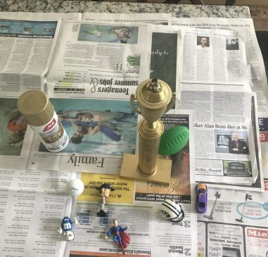 Spray paint trophy