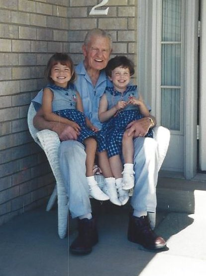 Grandpa with Megan and Paige