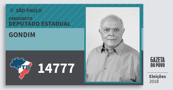 Santinho Gondim 14777 (PTB) Deputado Estadual | São Paulo | Eleições 2018