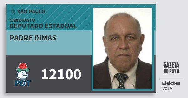 Santinho Padre Dimas 12100 (PDT) Deputado Estadual | São Paulo | Eleições 2018