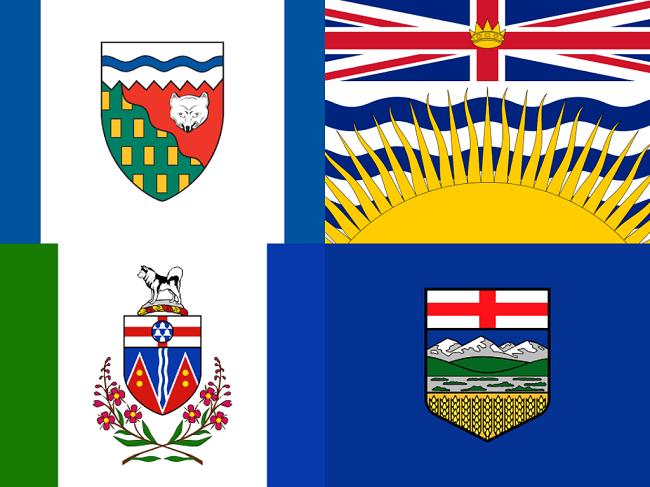 Alberta, British Columbia, Yukon, Northwest Territories