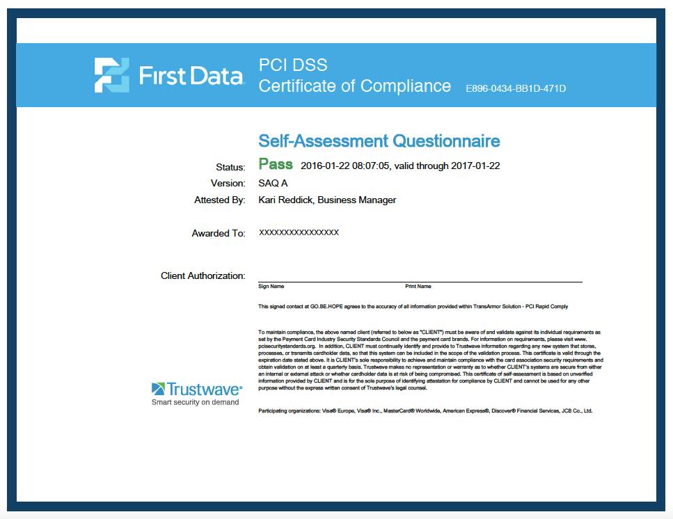 Sample Pci Compliance Certificate