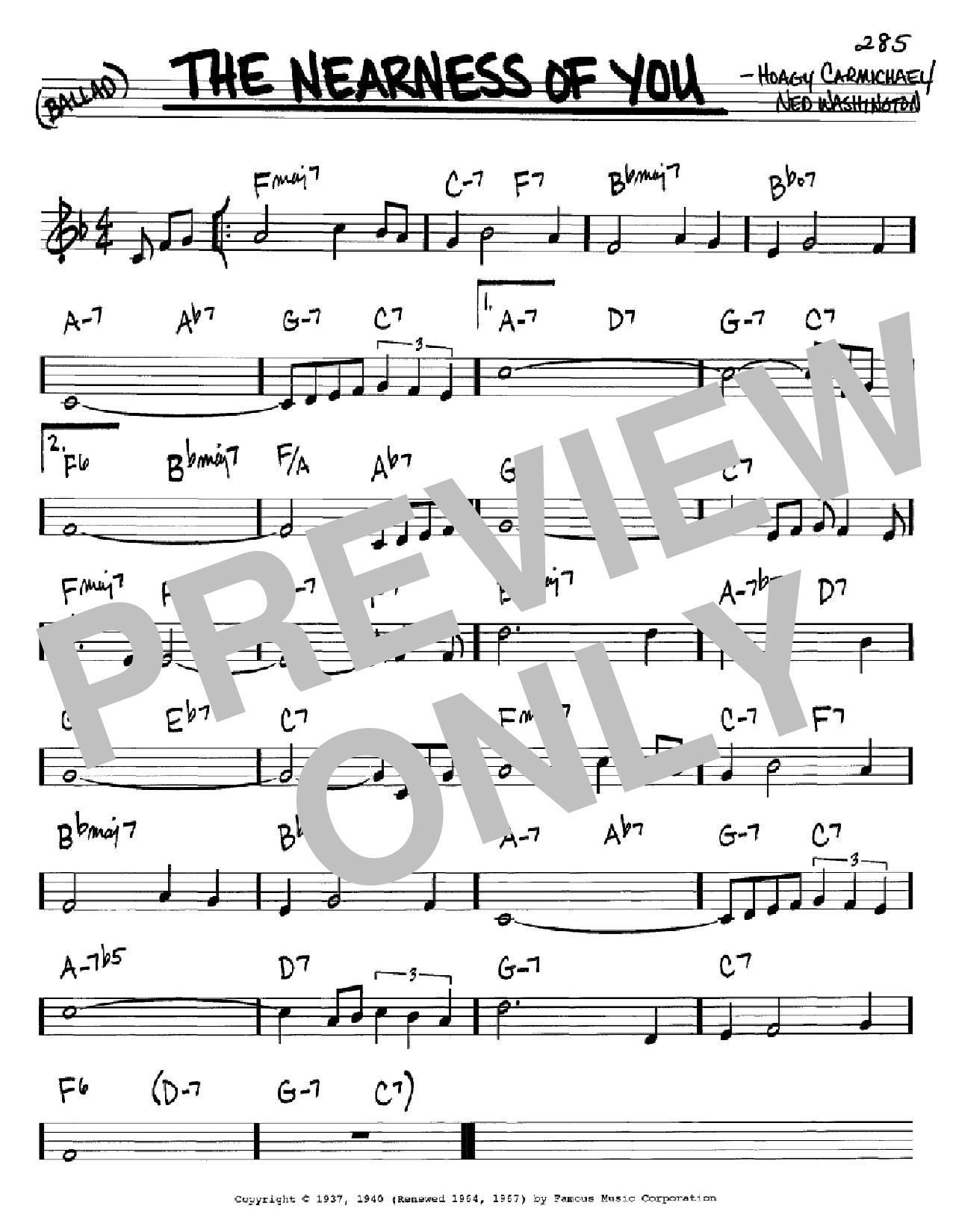 The Nearness Of You Sheet Music Hoagy Carmichael Real Book