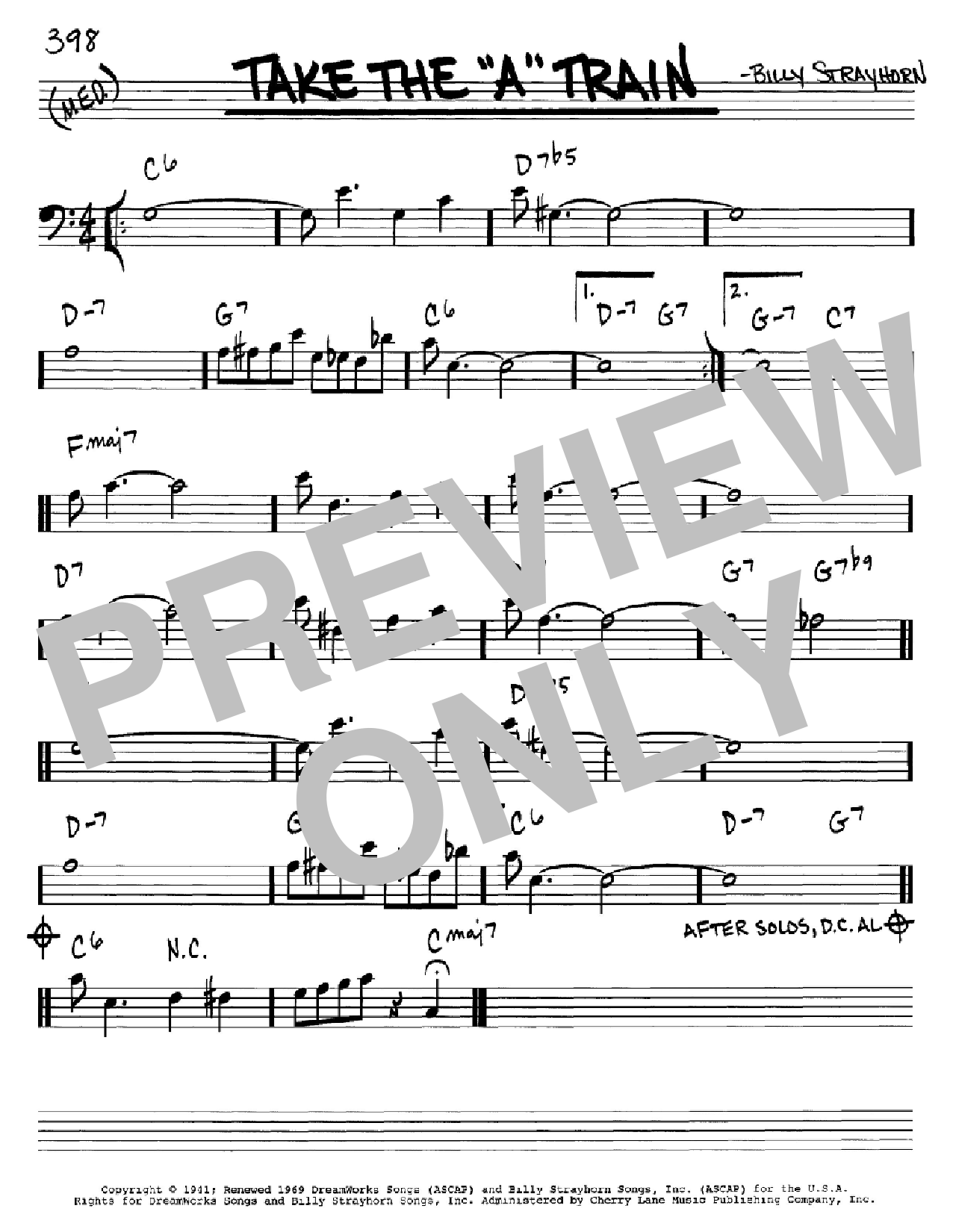 Take The A Train Sheet Music By Billy Strayhorn Real