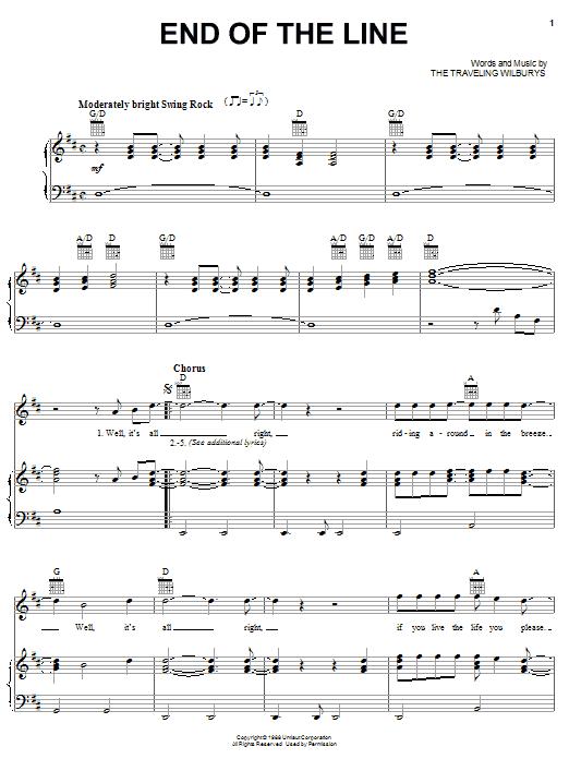 Traveling Wilburys End Of The Line Chords Guitar Tab
