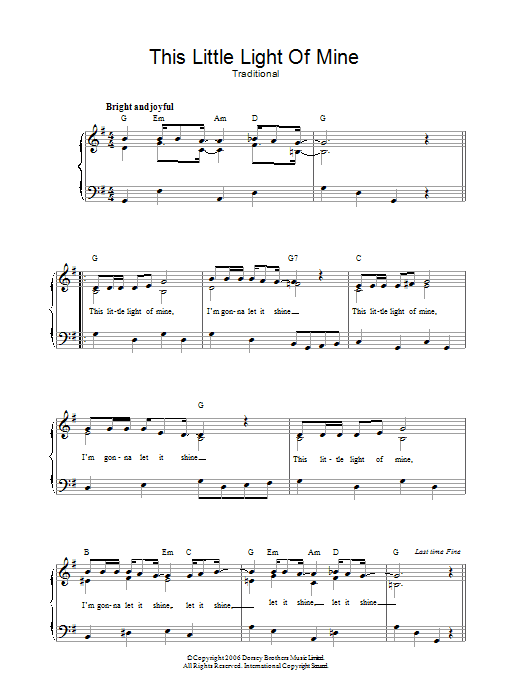 This Little Light Of Mine Sheet Music Direct