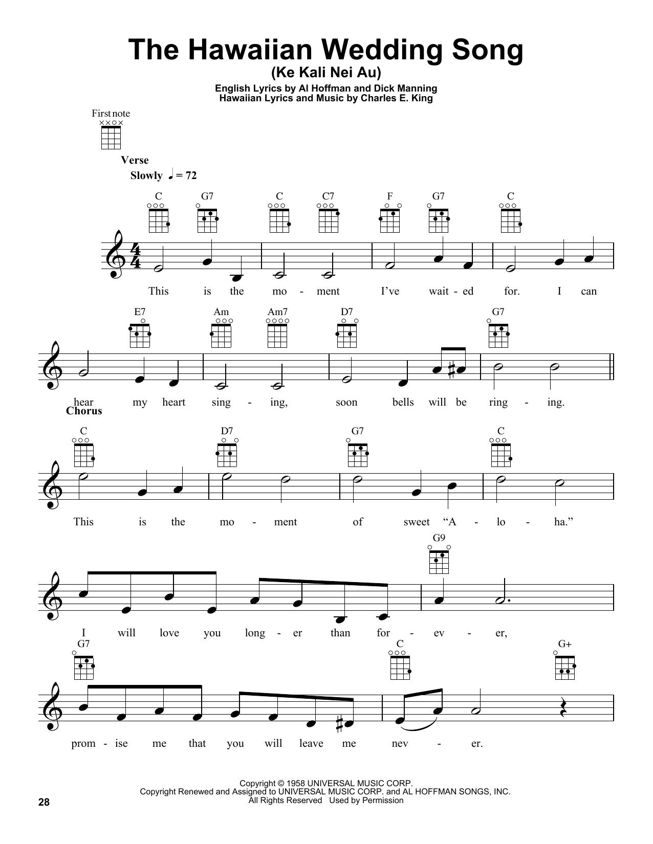 The Hawaiian Wedding Song Ke Kali Nei Au