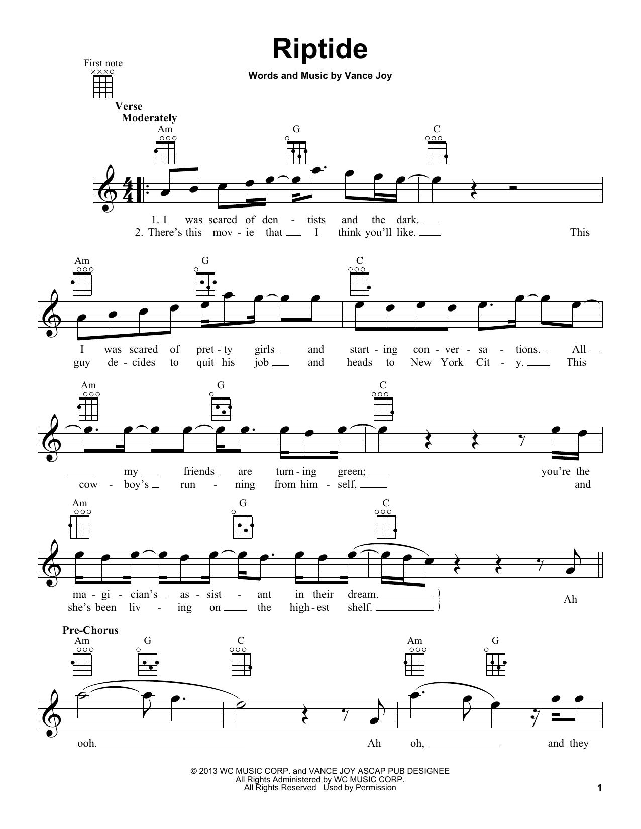 Riptide Sheet Music By Vance Joy Ukulele