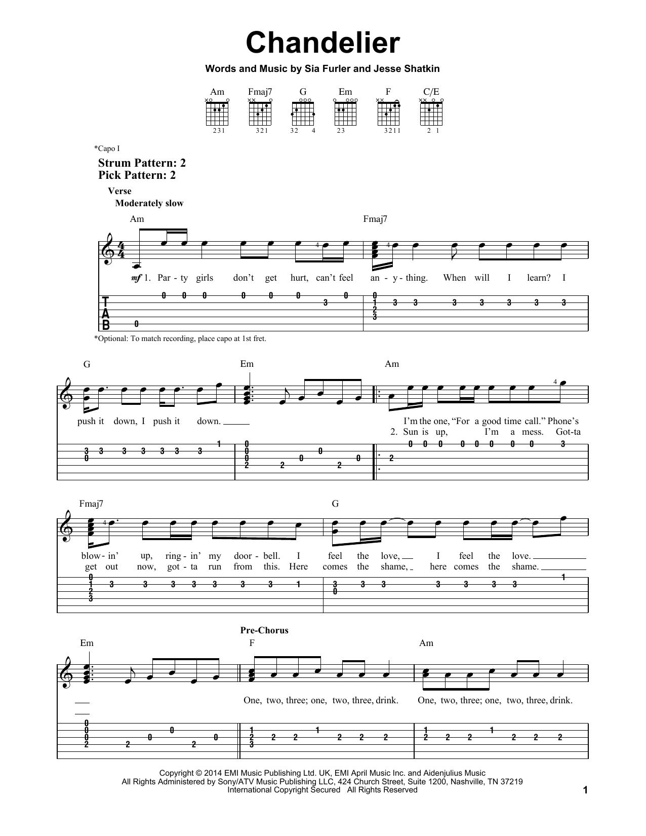 Chandelier Sheet Music Direct