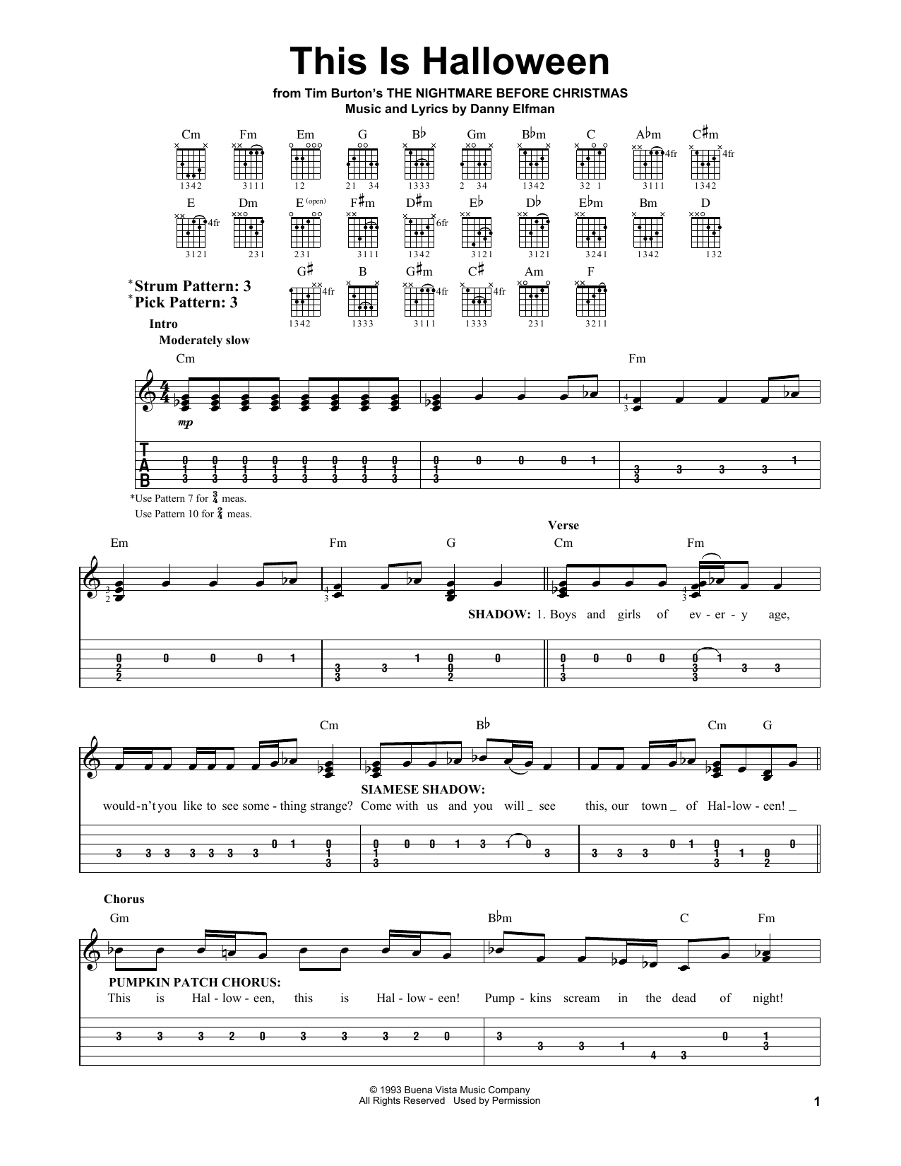 This Is Halloween Partition Par Danny Elfman Tablature